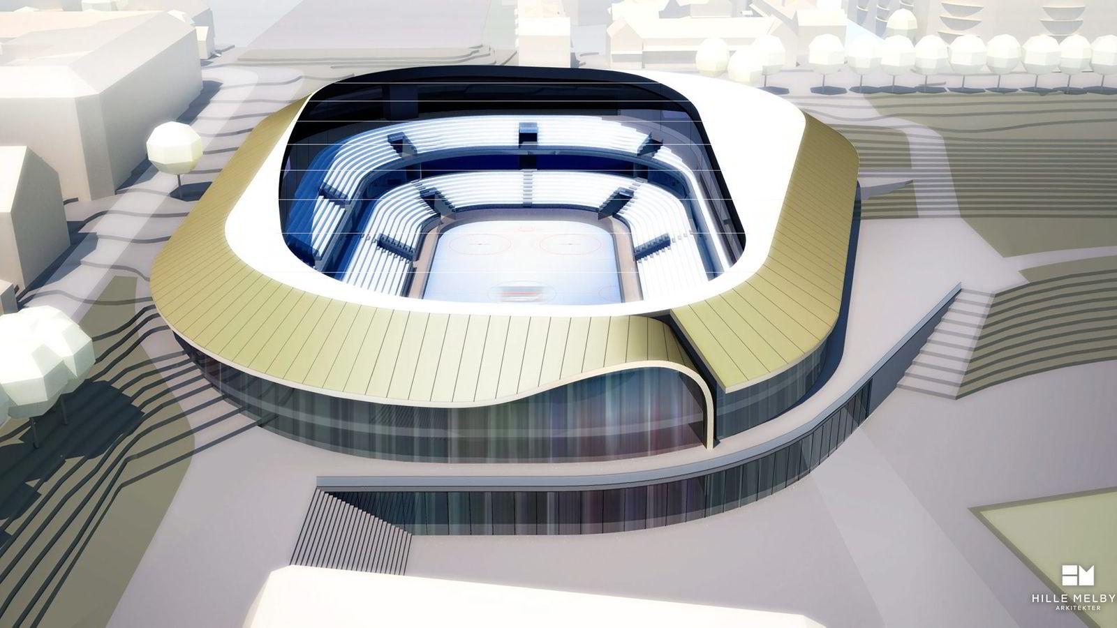 Hvorfor kan ikke Jordal Amfi ishockeyhall (bildet) bygges for 220 millioner kroner, som DNB ishockey-arena i Stavanger kostet? Hallen er budsjettert til å koste 625 millioner kroner. Illustrasjon: Hille Melbye Arkitekter