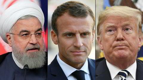 Irans president Hassan Rouhani (t.v.) skal møte frankrikes president Emmanuel Macron, som også skal møte USAs president Donald Trump.