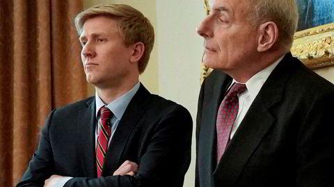 Nick Ayers (til venstre) har vært favoritten til å overta som stabssjef etter  John Kelly (til høyre).