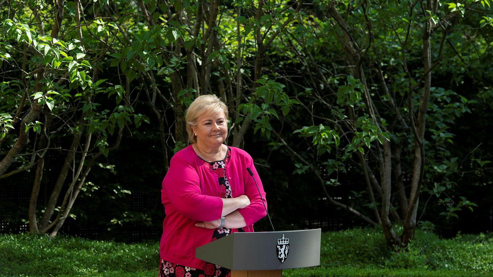 Statsminister Erna Solberg (H) oppsummerte nylig regjeringens innsats før sommeren.