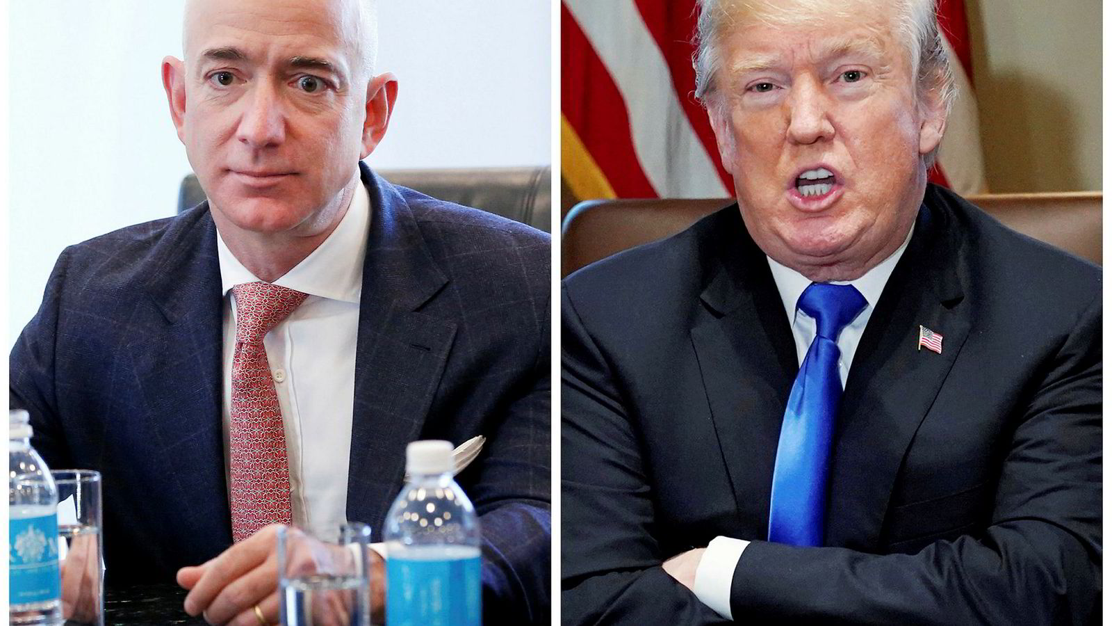 Jeff Bezos (til venstre) kan vinne på at Trump trapper opp handelskrigen med Kina.