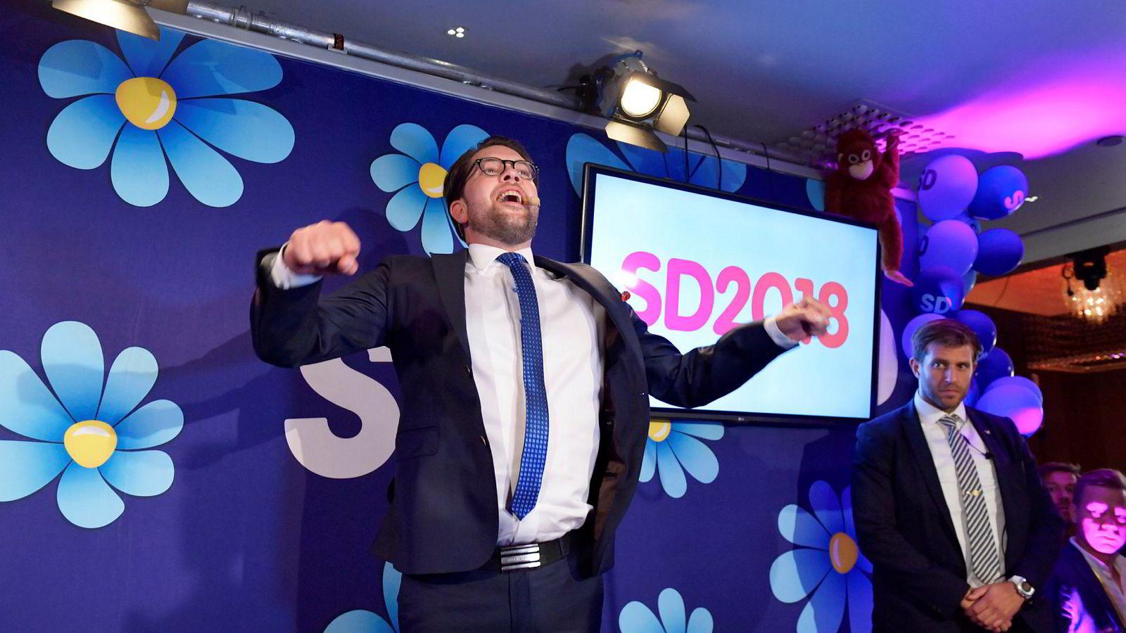 Partileder  Jimmie Åkesson erklærte Sverigedemokratene som det svenske valgets vinner da han talte til partiets valgvake søndag kveld.