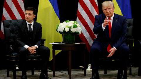Presidentene Donald Trump og Volodymyr Zelenskyj på pressekonferansen i New York onsdag kveld.