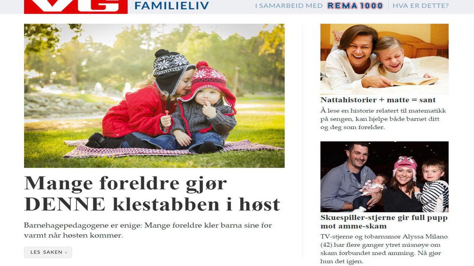 Slik ser den Rema1000-sponsede seksjonen på VG.no ut nå. (Skjermedump)