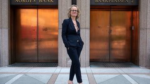 Eierskapssjef i Oljefondet Carine Smith Ihenacho utenfor Norges Bank.