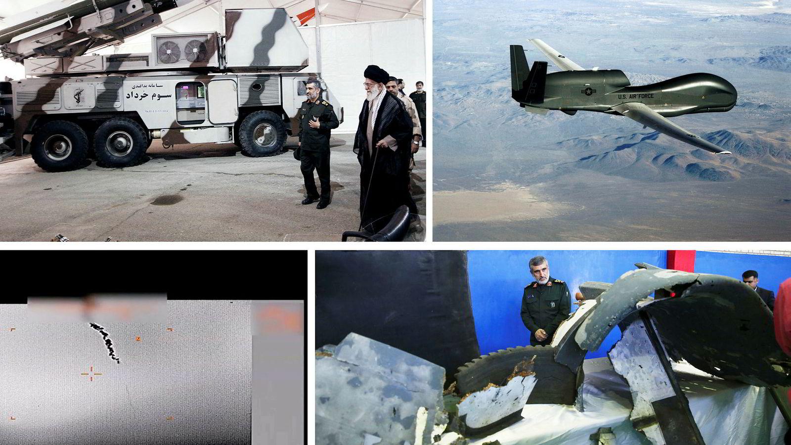 Øverst til høyre: Her inspiserer Irans øverste leder Ayatollah Ali Khamenei luftvernsystemet Khordad, som Revolusjonsgarden brukte til å skyte ned den amerikanske dronen. Til venstre er general Amir Ali Hajizadeh, kommandør i Revolusjonsgarden. Øverst til venstre: Overvåkningsdronen RQ-4 Global Hawk. Nederst til høyre: Radarbilde fra nedskytingen som USA påstår skjedde i internasjonal luftrom. Nederst til høyre: Iran påstår dette er vrakrester av dronen som Iran har hentet opp fra sjøen i iransk farvann.