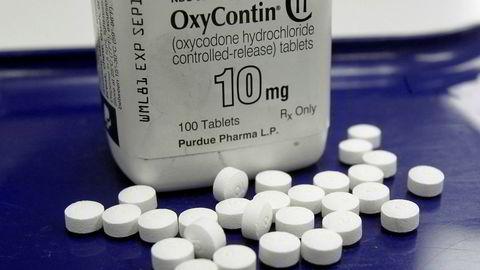 I 2007 erklærte flere ledere i konsernet som eier Purdue Pharma, seg skyldige i å gi misvisende informasjon om farene for avhengighet ved bruk av OxyContin. Foto: Toby Talbot/AP/NTB Scanpix