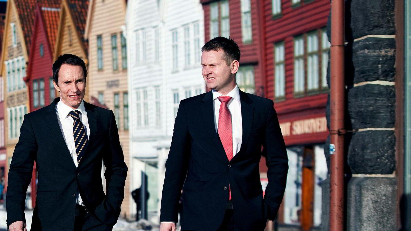Erik Egenæs (til venstre) og Endre Tangenes sto bak det nå Økokrim-etterforskede meglerhuset Nordic Securities. Deres investeringsselskap ETG Resources er inne på flere sider i Wavetech-striden.