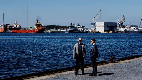 Neodrill-sjef Jostein Aleksandersen (til venstre) fikk tingrettens medhold i at Equinor urettmessig hadde benyttet seg av selskapets brønnteknologi. Her sammen med sin advokat Kyrre Tangen Andersen i Kluge advokatfirma.