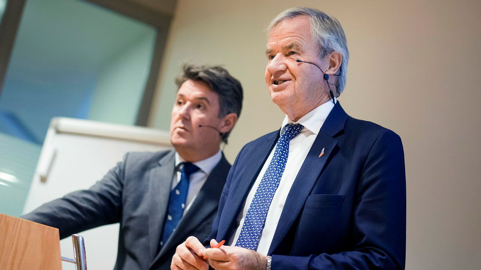 Norwegian-sjef Bjørn Kjos (t.h.) og finansdirektør Geir Karlsen, her i forbindelse med en tidligere kvartalspresentasjon.