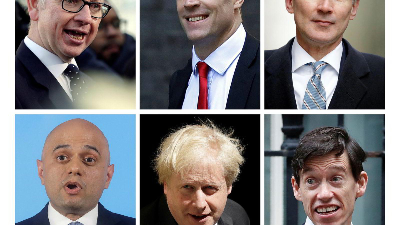 De seks som kjemper for å bli ny partileder, og dermed også statsminister, er, øverst fra venstre: Michael Gove, Dominic Raab, Jeremy Hunt, og nederst fra venstre: Sajid Javid, Boris Johnson, Rory Stewart.