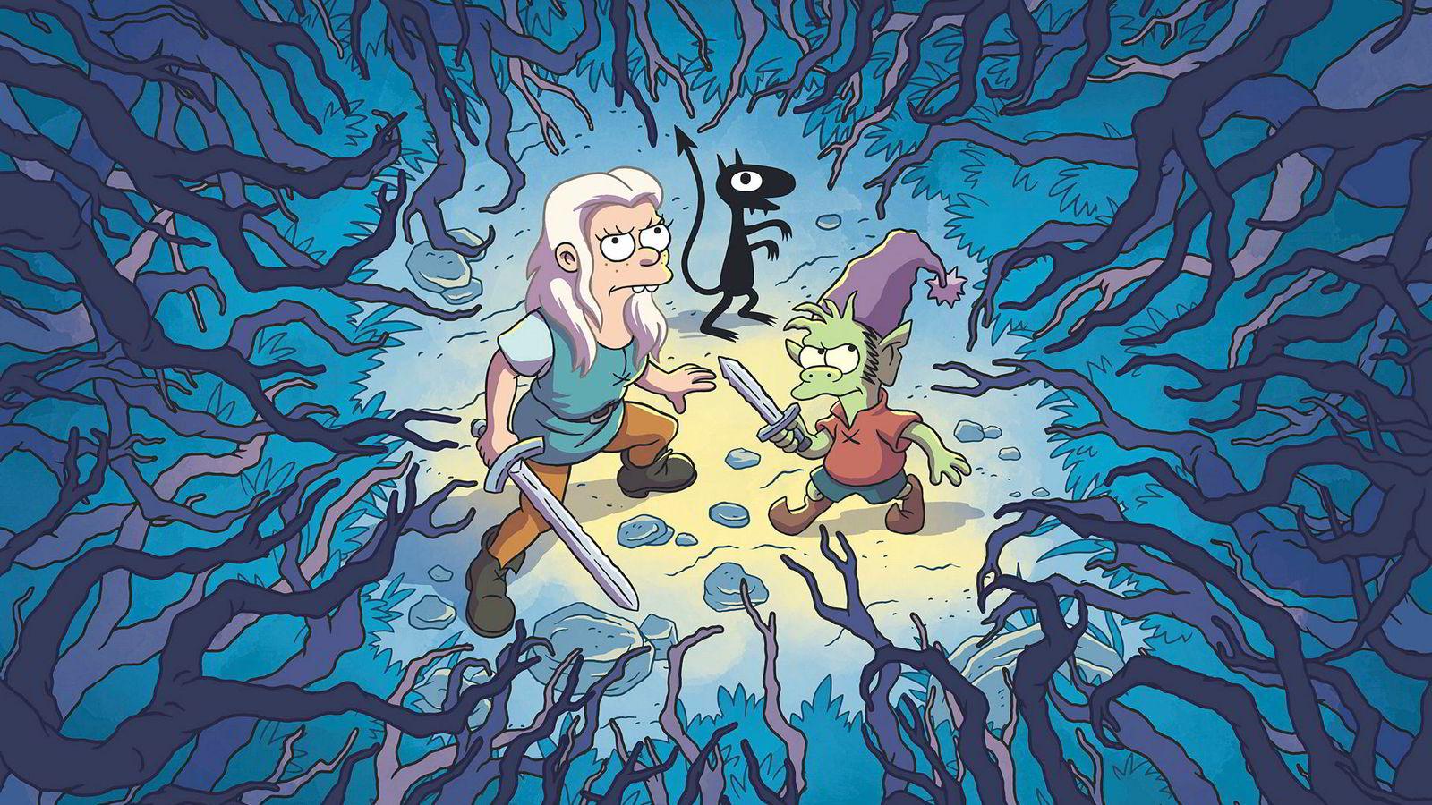 Mørkere enn «The Simpsons» og like eventyrlig som «Futurama»: Bean (Abbi Jacobson) er ikke akkurat en Disney-prinsesse i Netflix' nye animasjonsserie «Disenchantment».