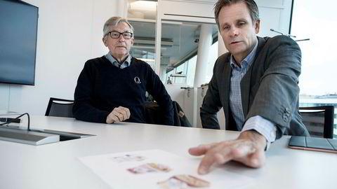 Q-meieriene hevder Tine gjentatte ganger kopierer deres produkter. Her er Q-sjef Bent Myrdahl og styreleder Karl Johan Ingvaldsen med yoghurtene det nå strides om.