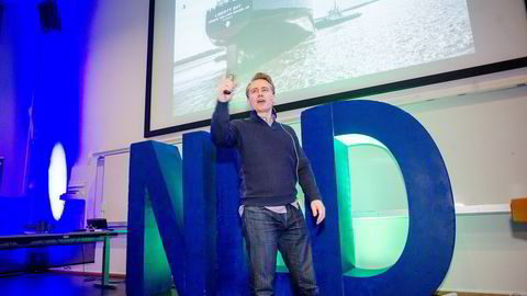 OM LEDERSKAP. Kristian Monsen Røkke gjestet BI-konferansen for å snakke om sin tid som toppsjef på amerikansk verft. FOTO: Mikaela Berg