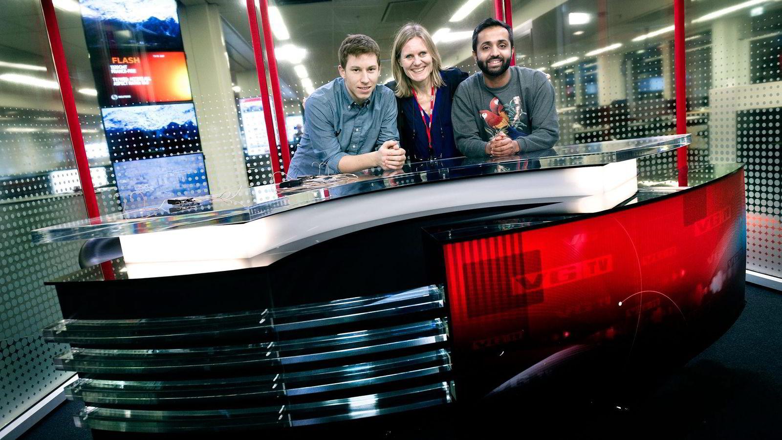 Nikolai Kleivan (fra venstre), Helje Solberg og Fawad Ashraf i VGTV utfordrer TV 2 Nyhetskanalen med egen nyhetskanal på Canal Digital.