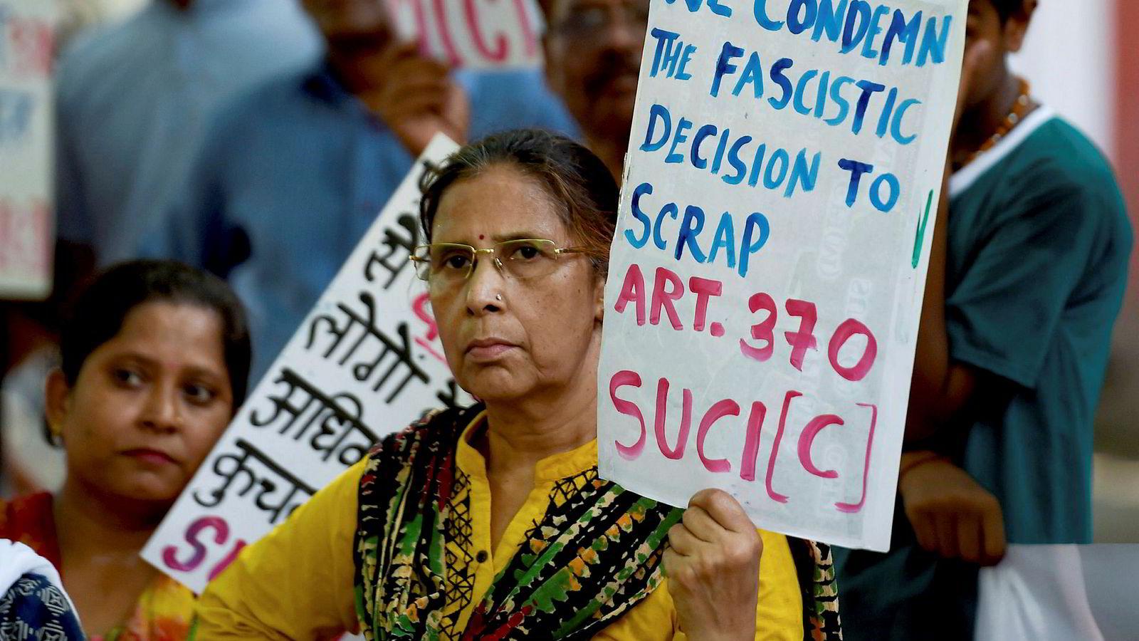 Folket i Kashmir-dalen har en rett til å bli hørt. Her fra en demonstrasjon i New Delhi 8. august.