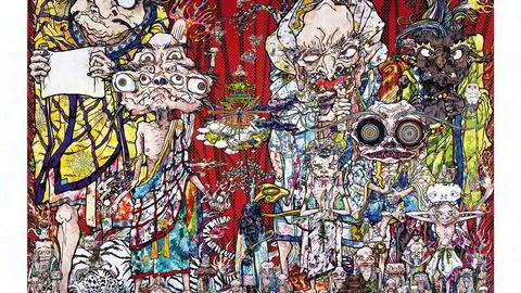 Etter katastrofen. Etter jordskjelvet i 2011 har Takashi Murakami arbeidet med en serie malerier av såkalte arhater - mennesker som har nådd nirvana - og som sprer Buddhas budskap på jorden. Arhatene brukte blant annet evnene sine til å hjelpe mennesker i nød, ifølge buddhistisk tro. Foto: © 2014 Takashi Murakami/Kaikai Kiki Co., Ltd. All Rights Reserved
