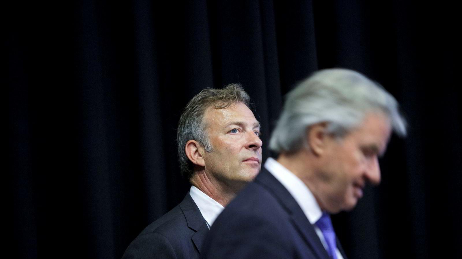 Tore Østby, direktør for strategisk utvikling i i Norwegian, her med nylig avgåtte Norwegian-sjef Bjørn Kjos ved en tidligere anledning.