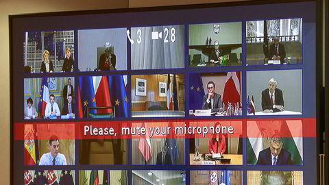 Koronakrisen har raskt fått nye løsninger i bruk. Her er EU-ledere i en videokonferanse om korona i mars i år.
