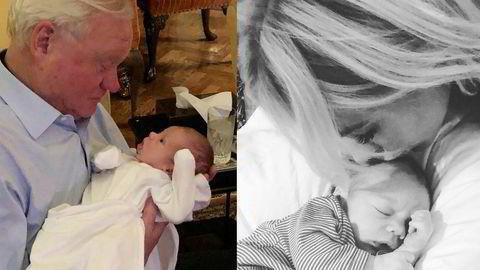 John Fredriksen med barnebarnet sitt som skal hete John Christian Fredriksen og til høyre Cecilie Fredriksen med sønnen sin (Bildene er gjengitt med tillatelse fra familien).