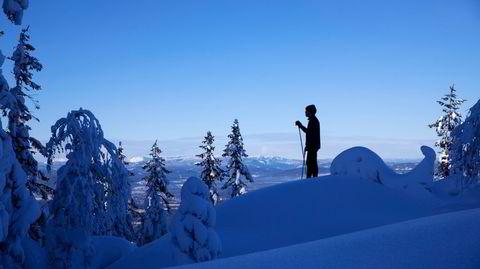 Gjemmetrening. Noe av gleden ved å gå på ski er å få være alene. Ensomheten finnes, etter litt kaving, sammen med noen militære installasjoner på toppen av Gyrihaugen (682 m.o.h.).