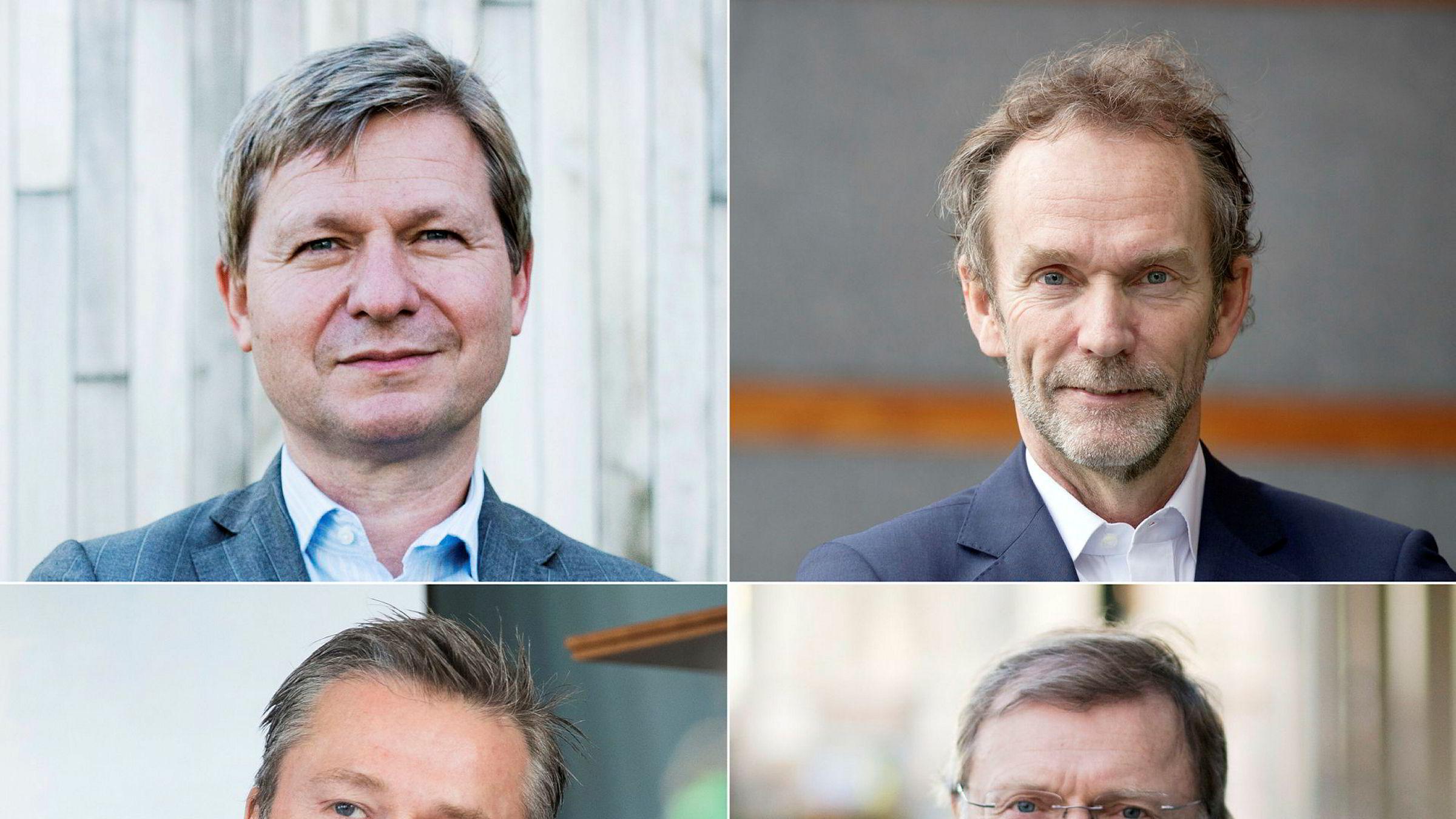 Profiler som (fra venstre øverst) kredittanalytiker Pål Ringholm, sjeføkonom Harald Magnus Andreassen, corporatesjef Ove Gusevik og sjefstrateg Peter Hermanrud gikk ut døren etter at bonusene var utbetalt, og startet hos konkurrenten Sparebank 1 Markets.