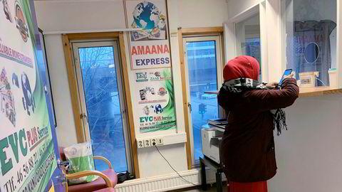 Hawala pengetransaksjoner på Grønland i Oslo. TTC Finans i samarbeid med Taaj her samarbeider om å sende hundrevis av millioner kroner fra Norge til Somalia i året.