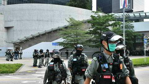 President Donald Trump vurderer nye sanksjoner mot Kina hvis den foreslått ny sikkerhetslov for Hongkong blir vedtatt. Det ventes nye demonstrasjoner i finansbyen og opprørspoliti er i beredskap i morgentimene i sentrumsgatene.