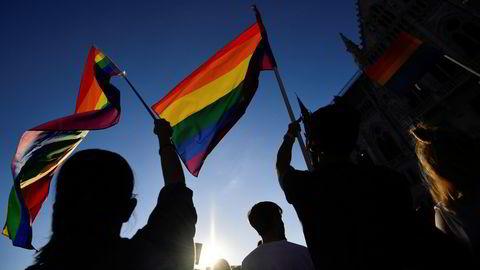 Demonstrasjoner mot Ungarns nye lov om seksualoppdragelse.