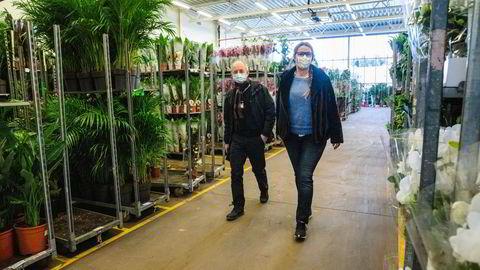 Styreleder Ola Ølstad og hr-sjef Rita Bondeson Børke i Mester Grønn går gjennom selskapets lager i Lier utenfor Drammen hvor plantene skulle vært ute i butikk nå