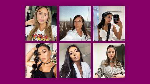 Ny standard. Det såkalte Instagram-ansiktet preges av fyldige lepper, buede bryn, definert kjeve, skarpe kinnben og smal nese (Kim Kardashian er på bildet nederst til høyre).