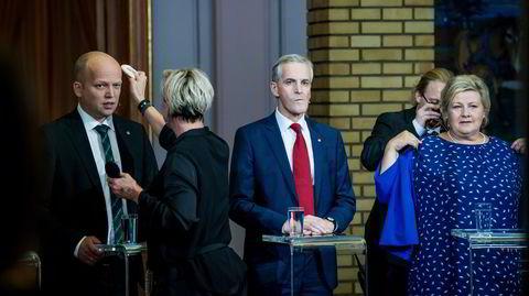Alle vil bli statsminister: Trygve Slagsvold Vedum, Jonas Gahr Støre og Erna Solberg.