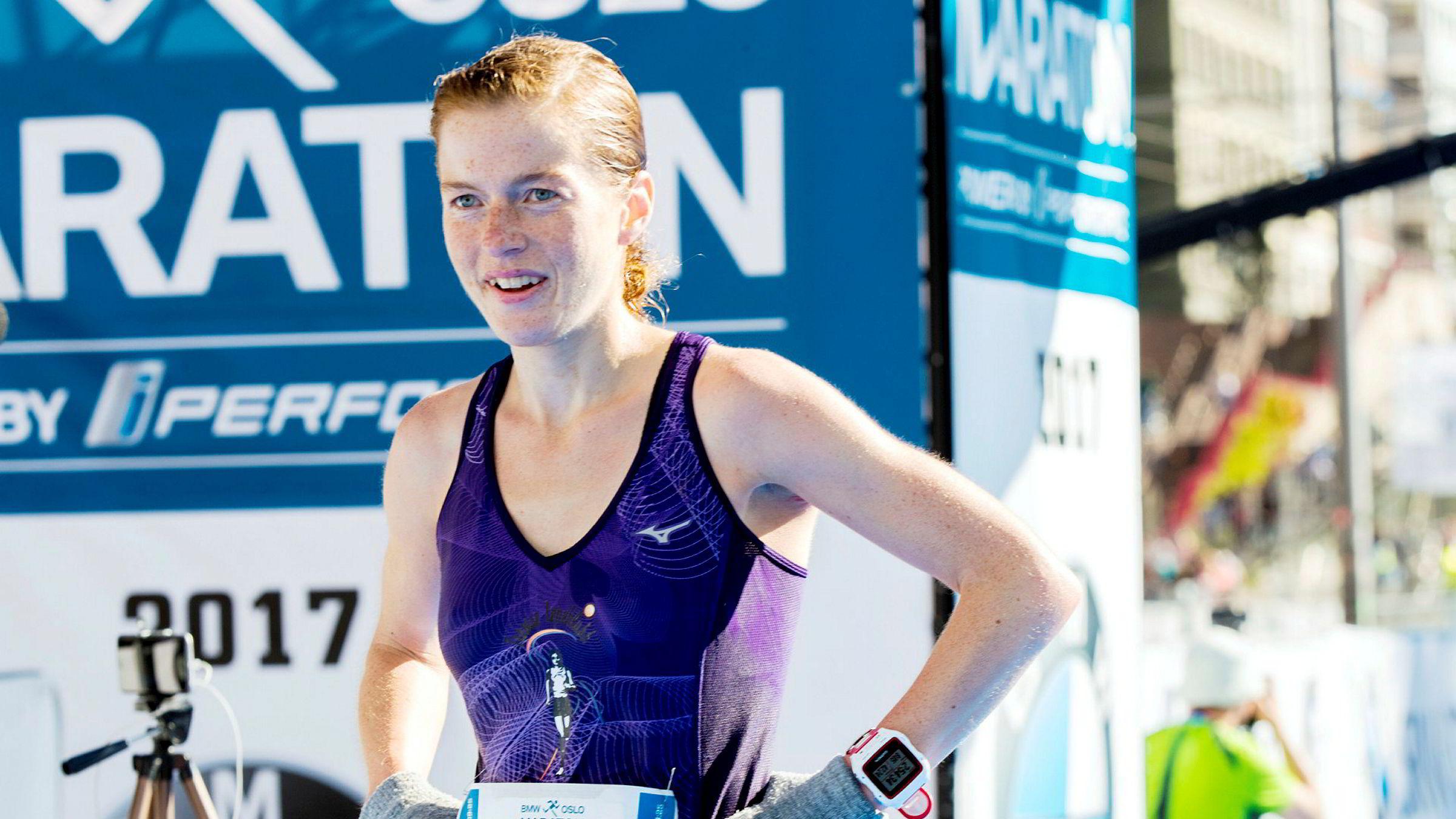 Hilde Aders vant Oslo maraton i 2017. – Jeg tar bilde av pulsklokken hvis det har gått skikkelig bra, sier hun.
