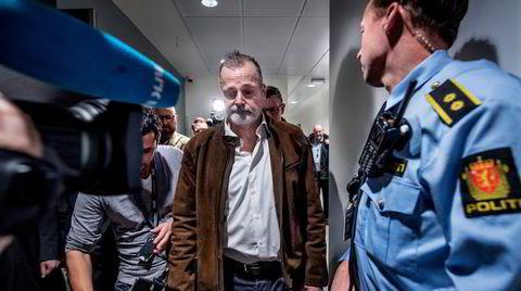 Tidligere politileder Eirik Jensen under tingrettssakens første dag, tiltalt for grov korrupsjon og narkotikaforbrytelser.
