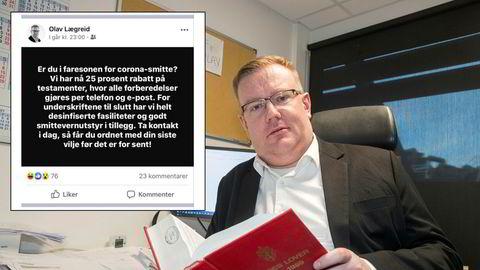 – Ja, det var jo en spøk. De fleste syntes det var morsomt, sier advokat Olav Lægreid om Facebook-oppdateringen om advokatfirmaets testament-kampanje.