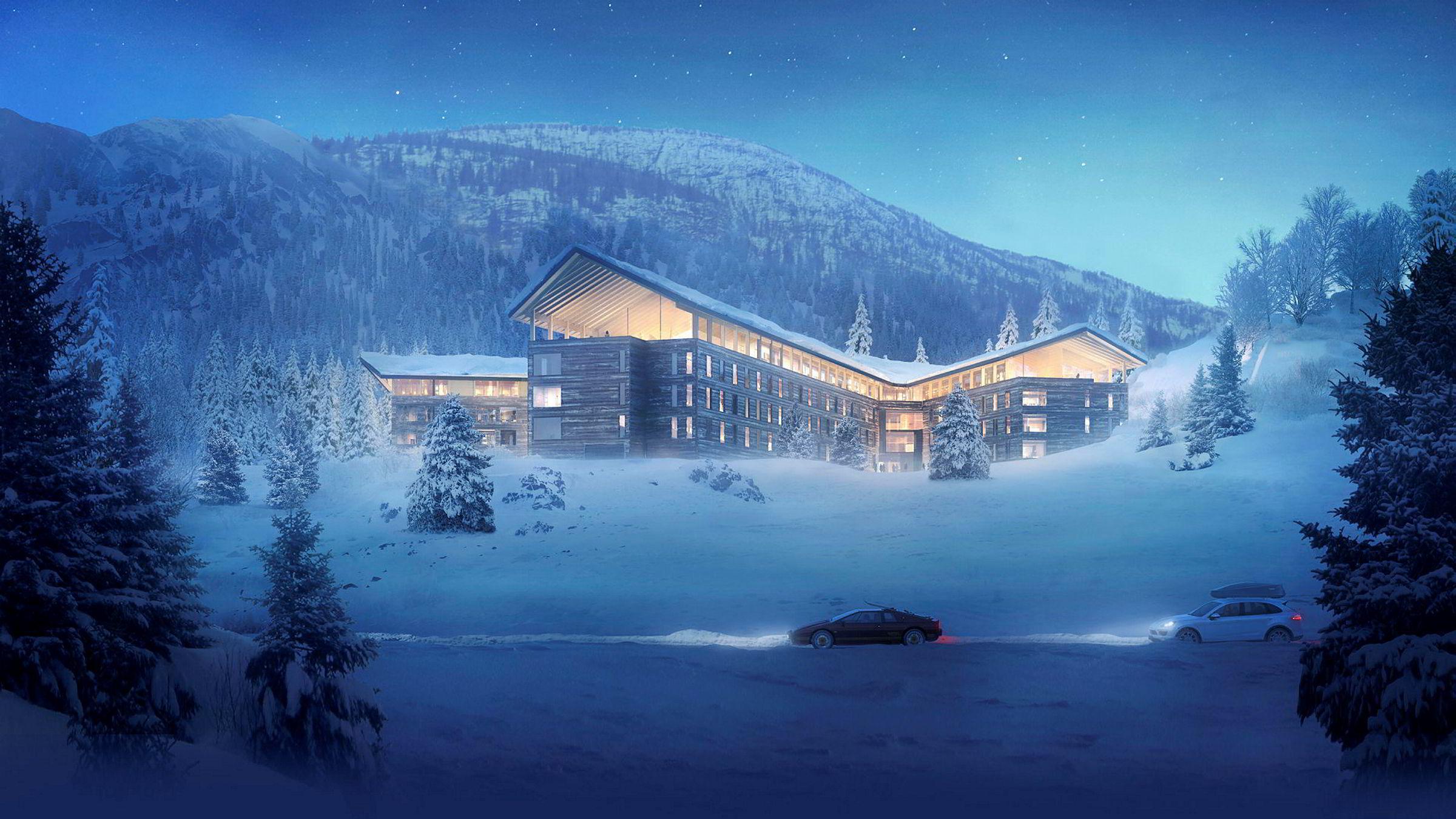 Slik blir Buchardts nye hotell- og leilighetsanlegg i Tottenskogen i Hemsedal. Det får to fløyer med hotellrom og to med leiligheter.