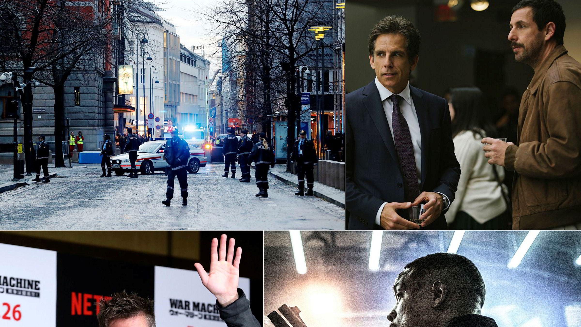 Netflix satser tungt på film. 22. juli-filmen «Norway» (oppe til venstre) er en av filmene Netflix har på planen, sammen med fem nye filmer med komiker Adam Sandler (oppe til høyre). I fjor slapp strømmetjenesten filmer med Brad Pitt og Will Smith.