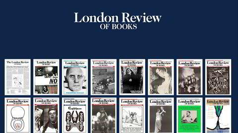 40 års kompromissløshet. Utvalgte forsider, år for år, siden London Review of Books – som kommer ut to ganger i måneden – så dagens lys i 1979. (Tredje fra høyre i nedre hjørnet er forsiden etter Brexit-avstemningen.)