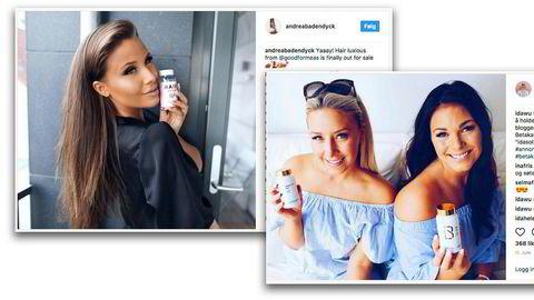 Toppbloggerne Andrea Badendyck (fra venstre), Ida Wulff og Kristina Andersen har til sammen 277.000 følgere på Instagram. Her reklamerer de ofte for betakarotenpiller fra Good for Me