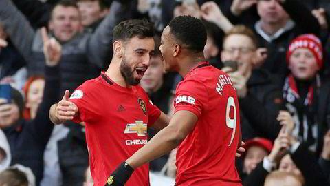 Manchester United betalte 47 millioner pund for å kjøpe portugisiske Bruno Fernandes (til venstre) i januar. Her med lagkamerat Anthony Martial.