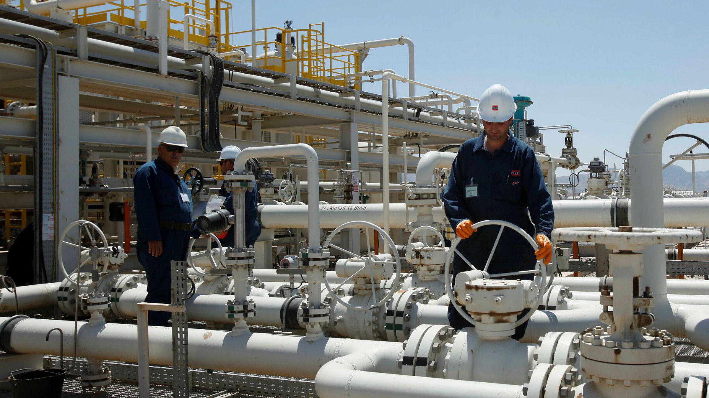 Arbeidere jobber på Tawke-feltet nord i Irak.