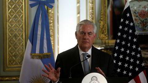 USAs utenriksminister Rex Tillerson utelukket under sitt besøk i Argentina ikke innføring av sanksjoner mot Venezuela.