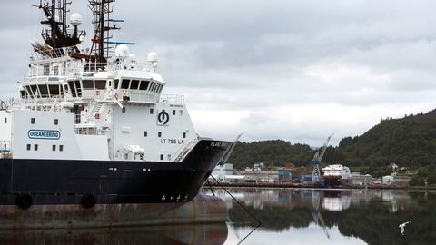 Supplyskipet «Island Spirit» ligger i opplag i Ulsteinvik sommeren 2019.