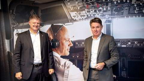 Konsernsjef Jacob Schram og finansdirektør Geir Karlsen i Norwegian har sikret seg seks milliarder kroner i frisk kapital.