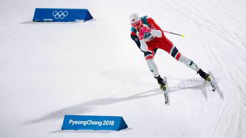 Johannes Høsflot Klæbo på sprinten i Alpensia Cross-Country Skiing Centre under vinter-OL i Pyeongchang