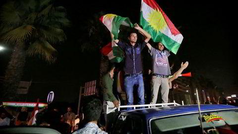 Det kurdiske flagget vaiet høyt i Erbil etter folkeavstemningen der de aller fleste stemte for kurdisk uavhengighet.