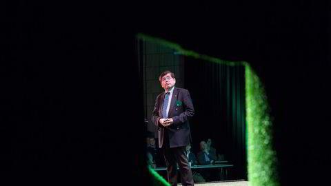 Katsuhiko Hirose og Toyota ligger langt fremme i kappløpet om hydrogenbiler. Tirsdag var han på Enova-konferanse i Trondheim. Foto: Ole Morten Melgård
