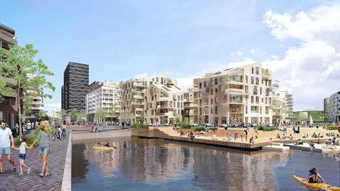 Bolignedturen gjorde at salget av boligprosjektet Vannkunsten i Bjørvika i Oslo ble utsatt. Nå tror Oslo S Utvikling at angsten i boligmarkedet er borte, og legger boligene ut for salg.