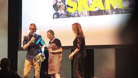 «Skam» har vunnet en rekke priser, som her da serien fikk nyskaperprisen under Nordiske Mediedager i Bergen i mai. Natt til søndag dukket første avsnitt i den nye sesongen opp på nettet. Arkivfoto: Marit Hommedal /