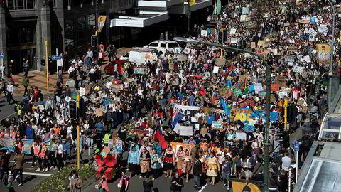 Over 40.000 demonstrerte for klimaet i New Zealands hovedstad Wellington fredag.